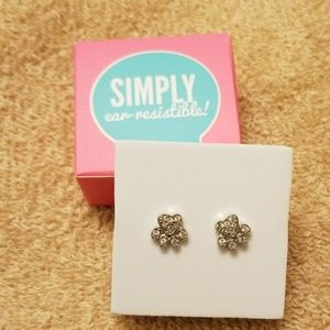 Origami Owl Pave Dog Paw Stud Earrings